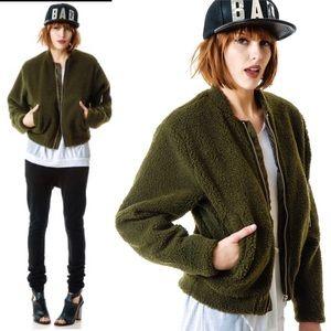 Cheap Monday Army Green Teddy Sherpa Bomber Jacket